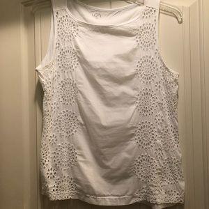 LOFT white sleeveless with eyelet details